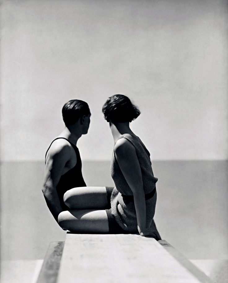"George Hoyningen-Huene: Divers, Paris, 1930 Hoyningen-Huene's best-known photograph shows two bathers - one, his lover and protégé, Horst P. Horst; the other, an androgynous female model - facing away from the camera, staring across an infinite horizon toward the ""sea"" (in reality, the balustrade on the roof of Vogue's Paris studio). Here and in all of Hoyningen-Huene's best works, lighting imparts drama, sophistication and longing for both."