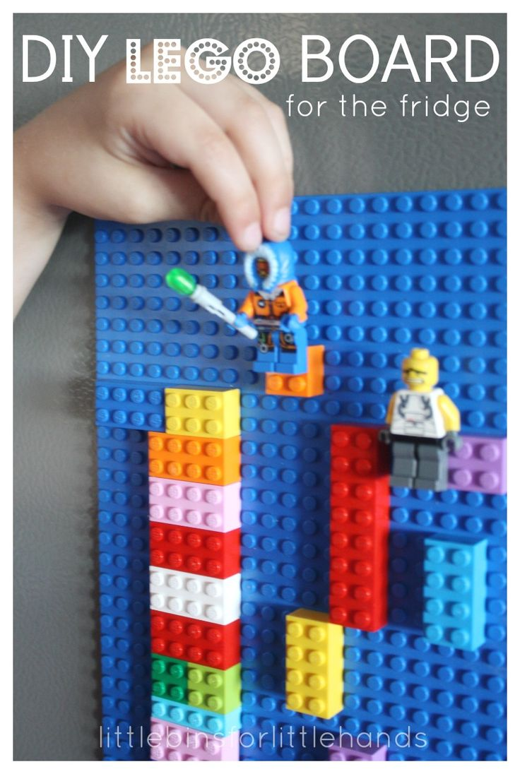 Simple DIY Lego Board for the Fridge. (pinned by Kidherostories.com- personalized books for kids with their photo and name).