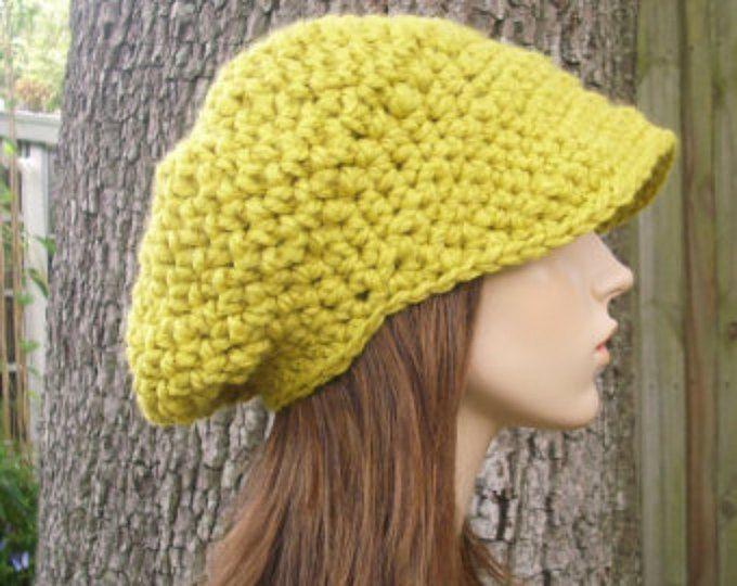 Crochet el sombrero de las mujeres de sombrero vendedor de periódicos amarillos Hat - Sombrero de vendedor de periódicos del ganchillo en sombrero de tejido amarillo limón - amarillo sombrero gorro amarillo para mujer accesorios