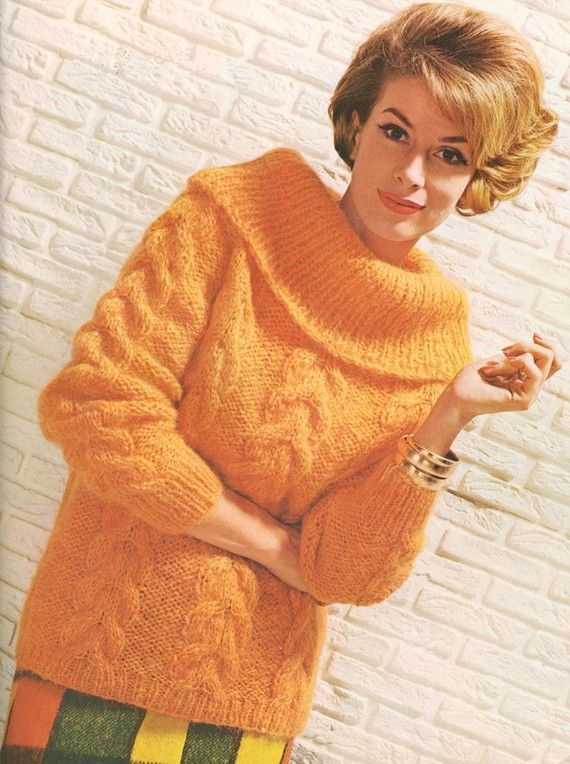 Vintage 1960s Mohair Roll Collar Cable Knit Sweater by cemetarian