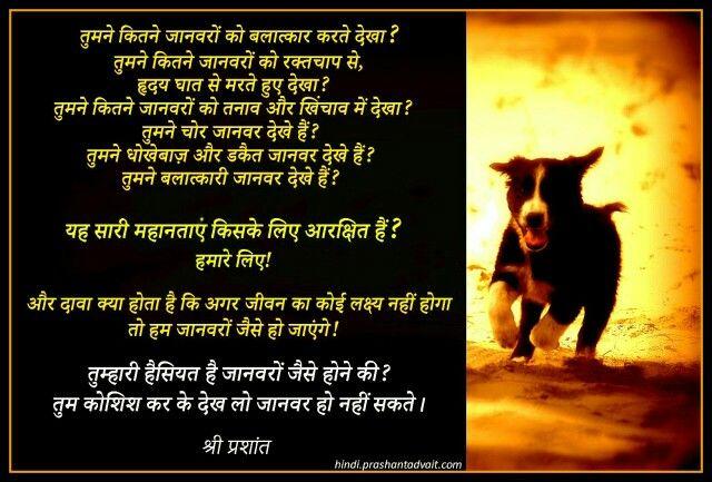 तुम्हारी हैस्यत है जानवरों जैसे होने की? तुम कोशिश कर के देख लो जानवर हो नहीं सकते। ~ श्री प्रशांत #ShriPrashant #Advait #conditioning #suffering Read at:-prashantadvait.comWatch at:-www.youtube.com/c/ShriPrashantWebsite:-www.advait.org.inFacebook:-www.facebook.com/prashant.advaitLinkedIn:-www.linkedin.com/in/prashantadvaitTwitter:-https://twitter.com/Prashant_Advait