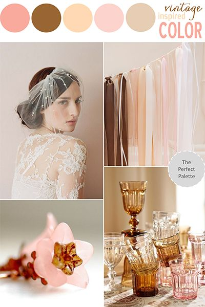 The closest palette: rosewater, chocolate brown, peach, blush pink (neutral), and ivory
