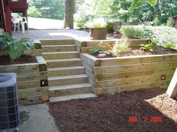 Cantero y escalera para jardin arquitectura pinterest for Madera para jardin