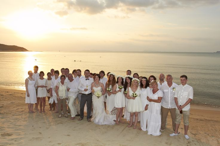 White beach wedding (and guests!) Weddings in Thailand