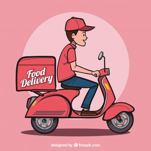 Download Hand Drawn Food Delivery Man For Free Food Delivery