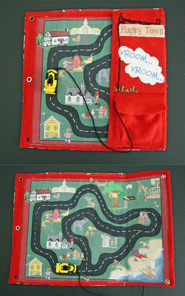 This car track page includes pocket for car, which is attached with a string so it doesn't get lost.