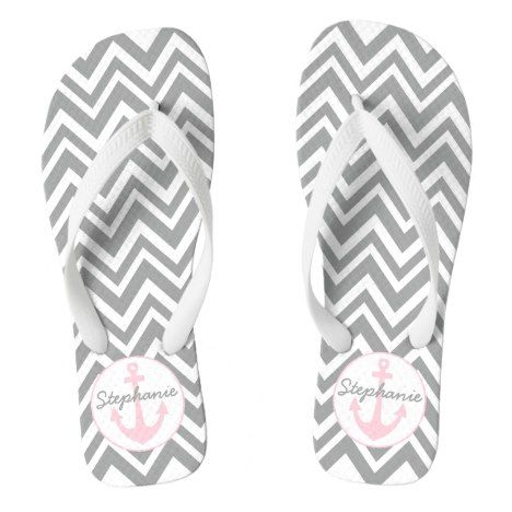 Grey and White Chevron with Pastel Pink Nautical Flip Flops #chevron #patterned #footwear #fashion