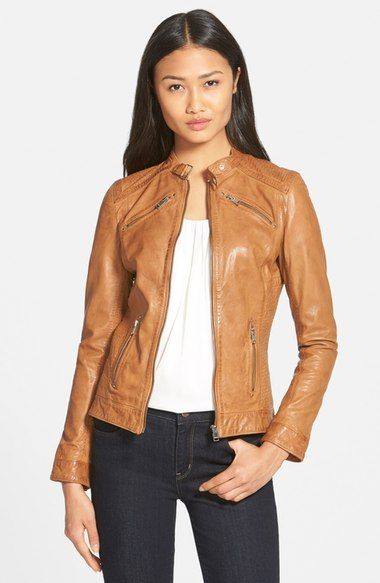LaMarque 'Leighton' Stitch Detail Lambskin Leather Jacket (Online Only) available at #Nordstrom