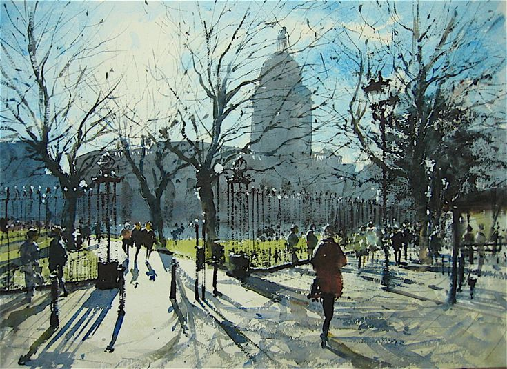 Winter Sun Colmore Row Birmingham, Watercolor by Gerald Green