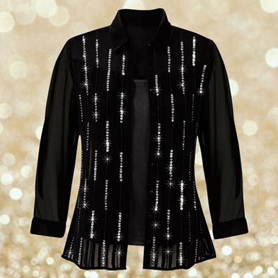 Elegant Beaded Blouse Set A gorgeous graphic pattern of beads and sequins on the front add sparkle and shine. Set includes a matching camisole top with spaghetti straps.
