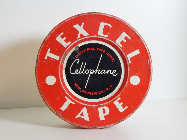 Vintage Tin Red & White Striped Texcel Cellophane Tape Tin Mid Century Office Desk Mad Men Decor by OffbeatAvenue on Etsy