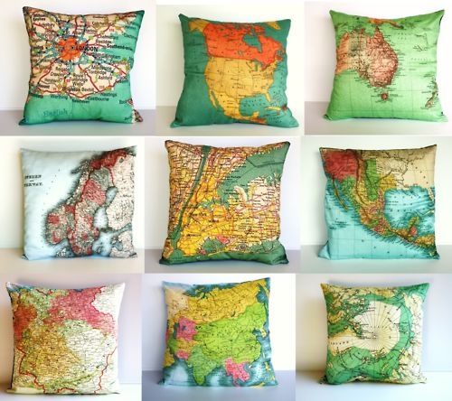 I'm sad this isn't a link to where I can buy these. Any one know? Crafts Ideas, Interiors Design, Travel Room, Maps Pillows, Reading Corner, Maps Decor, Home Decor, Throw Pillows, Families Room