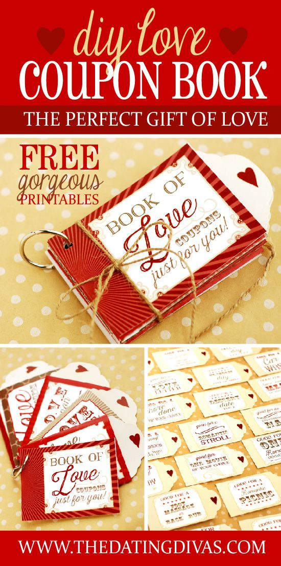 Love Coupons Book Gift idea for Valentine's Day. Free Printables included.