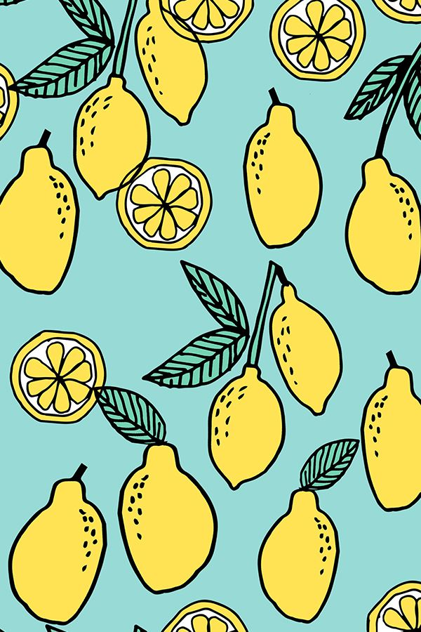 lemon // summer fruit citrus by andrea_lauren.  Hand illustrated lemons on a teal background.  Available on fabric, wallpaper, and gift wrap.