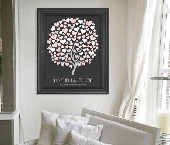 Personalized Wedding Guest Book Alternative Art Print // Custom Wedding Guestbook Poster // Wedding Tree // Hearts // 125 Guests on Etsy, $38.00