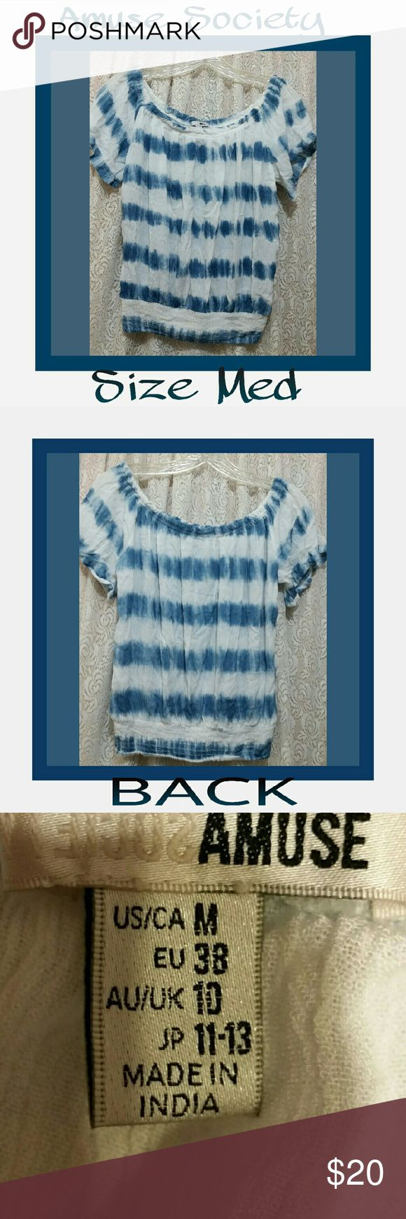 AMUSE SOCIETY ON OR OFF SHOULDER BLOUSE Slate blu and white striped on or off shoulder blouse with stretch bottom. Amuse Society  Tops Blouses