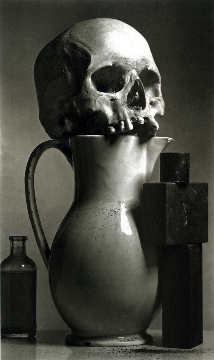 "Five pretty Irving Penn faces: Irving Penn: Still Life, Ospedale, New York, 1980 Penn on this archeology work: ""For some years I had been accumulating scraps of material that obsessed me: bits of glass, metal, and bone; a human cranium; old sewing machines; a variety of dusts."""
