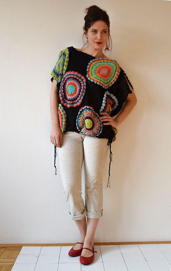 Black Women's Sweater Vest Crochet Light Silky Yarn door subrosa123
