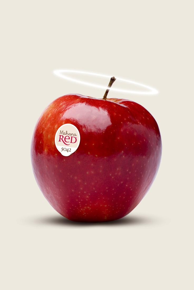 Mahana Red® hero image with halo device to reinforce the pure, divine taste of this apple grown in New Zealand.