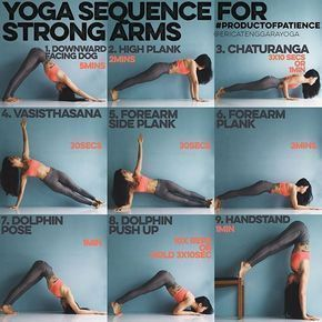 YOGA SEQUENCE FOR STRONG ARMS This sequence is all about holding, most yoga poses require a lot of holding on so why not strengthen by holding the foundation? - 1. DOWNWARD FACING DOG 5mins Man will you feel this in the shoulders but get up close & person