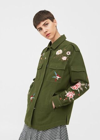 Floral embroidered jacket -  Woman | MANGO United Kingdom