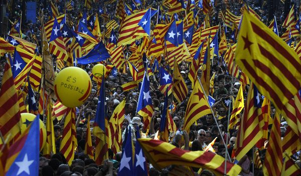 """Protest Rally in Catalonia Adds a Worry for Spain. Catalonia's national day turned into a huge separatist rally on Tuesday. As many as 1.5 million people took over the center of Barcelona around 6 p.m. and organized under the slogan """"Catalonia, New European State"""",  the protesters, many of whom had traveled here from other parts of Catalonia, waved striped yellow-and-red Catalan flags and signs demanding independence."""