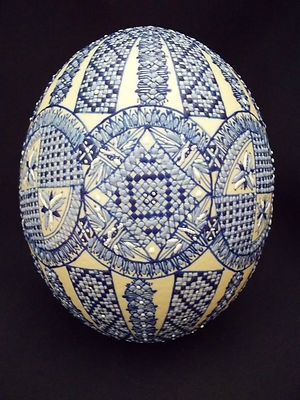 Romanian Pysanka, Pysanky Blue Ostrich  Easter Egg with Flowers.