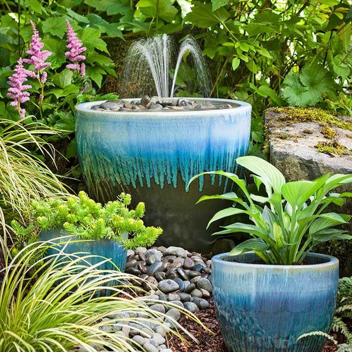 Ceramic Pot Fountains: Fountain In A Blue Ceramic Pot