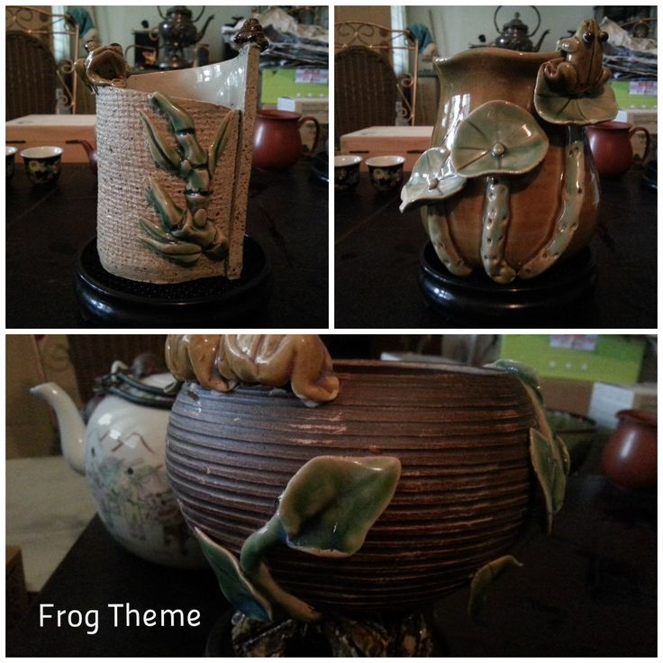 #Clay #pottery #Handmade #Frog #Theme Interest #handmade#design by #Penang #local#artist. Artist was working in a local factory which has closed down, so items no longer in production. Frog design - good meaning.