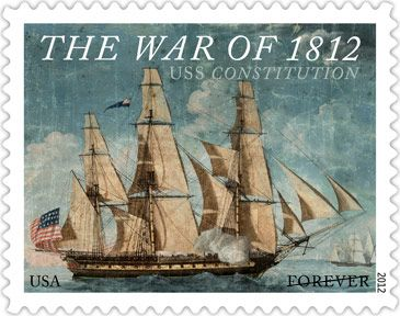 USS Constitution. Stamp released August 2012.  First launched in 1797, USS Constitution is a wooden-hulled, three-masted heavy frigate of the United States Navy. Named by President George Washington after the Constitution of the United States of America, she is the world's oldest commissioned naval vessel afloat. Also known as Old Ironsides for her battle with the HMS Guerriere in the War of 1812.