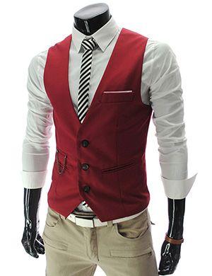 Mens slim Fit chain point 3 button vest