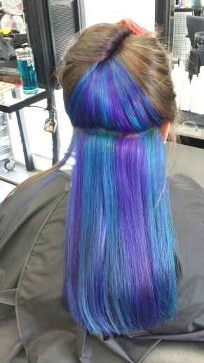 Blue And Purple Hair Under Layer Underlights Hair Under