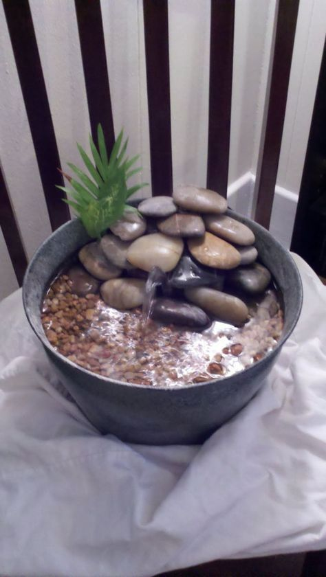 Outdoor , Gallery of Awesome Ideas for Homemade Water Fountains : DIY Table Top Fountain With Small Stone Decor Idea