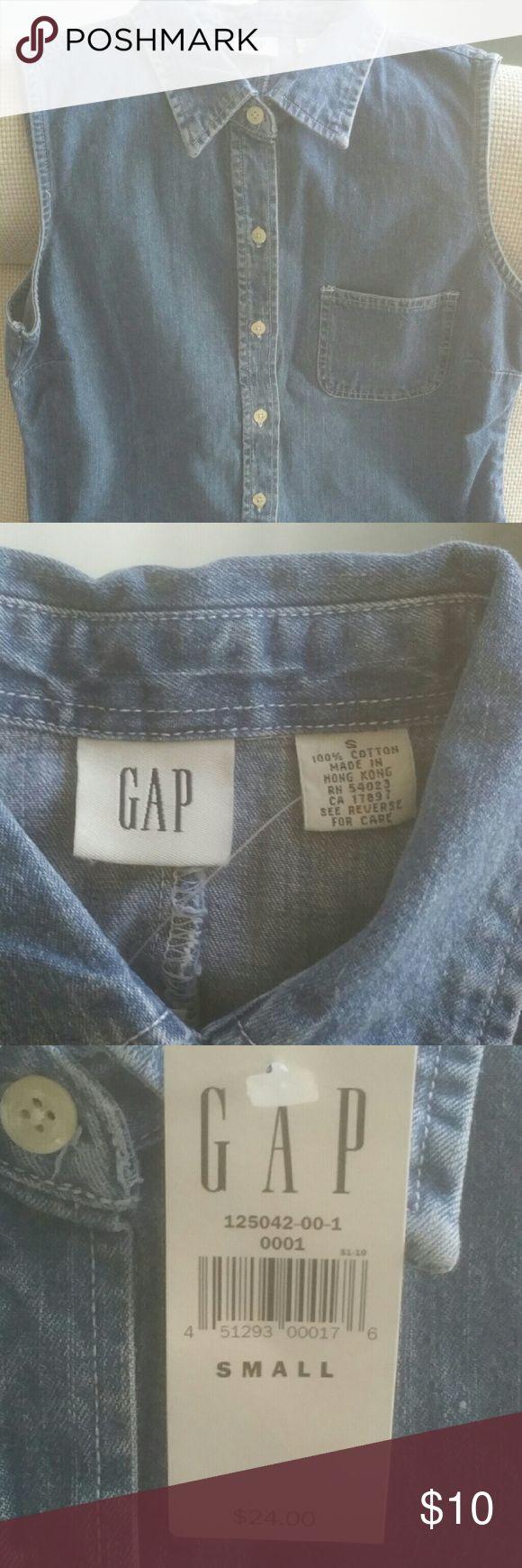 Gap sleeveless denim shirt Sleeveless denim button down shirt GAP Tops Button Down Shirts