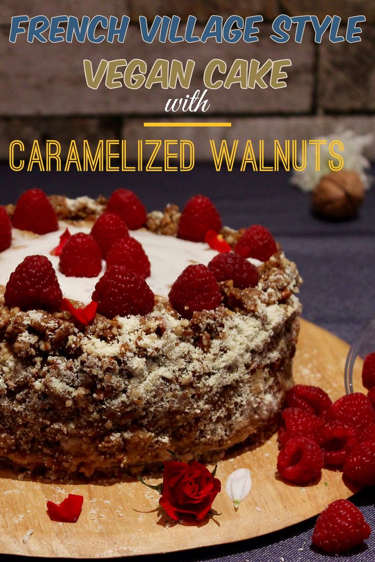 VEGAN VILLAGE STYLE CAKE WITH COOKIE LAYERS AND  CARAMELIZED WALNUTS