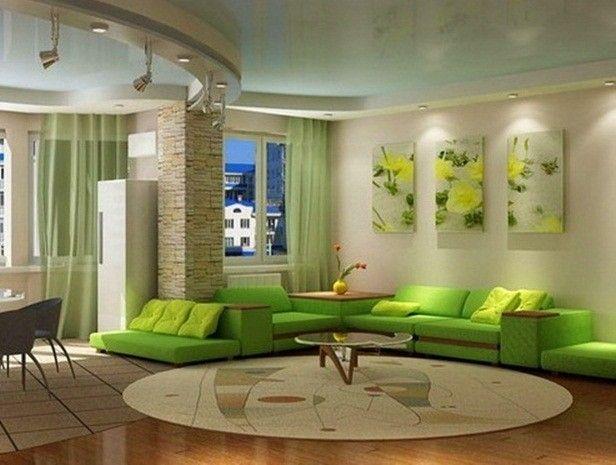 Parete beige, imbottiti verdi. PARNASSIUS verde chiaro