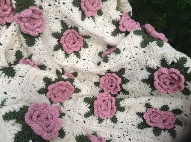 Hand crochet rose blanket in my folksy shop. Margaret Markland