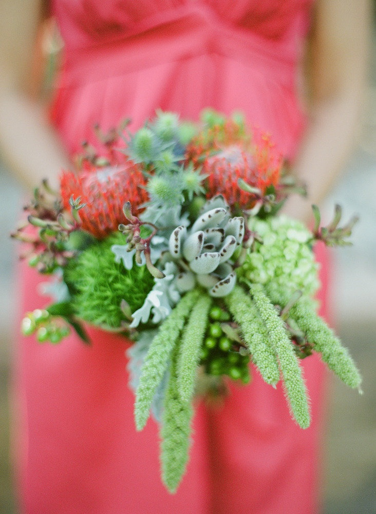 Wonderful assortment of greenery for this bridesmaid's bouquet! Photography by michaelandannacosta.com, Floral Design: Anna of Crazy Daisy