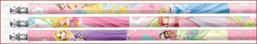 "Disney Princess Fanciful Pencils 12 Pack by Amscan. $5.79. Princess Pencils. 12 per package.. From the Disney Princess Party Supply Collection. Disney Princess Fanciful Pencils. Each pink pencil features blue, white and green flowers, with princesses Tiana, Belle, Cinderella, Rapunzel, Ariel and Aurora. Includes 12 pencils which measure 7 1/2"" each."