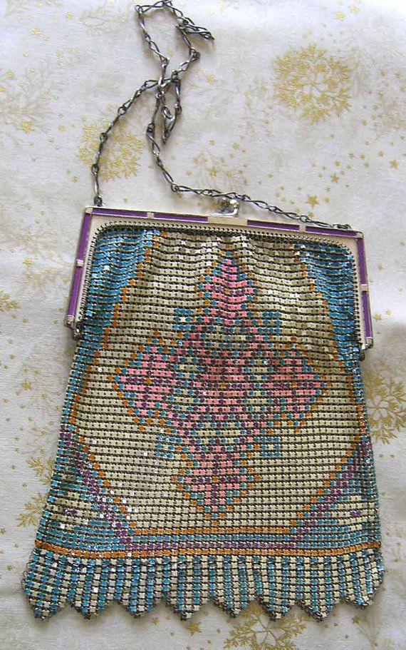 Whiting & Davis 1920s Whiting And Davis Colorful Mesh Bag D6NCfwg5wr