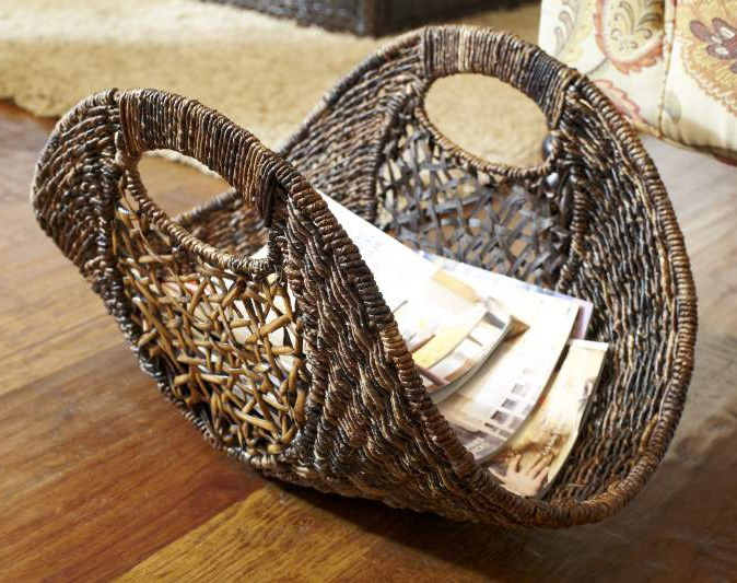Pier 1 Abaca & Rattan Basket - I need something like this for the living room to hold magazines!