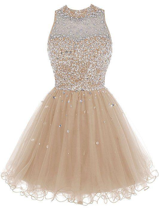 Bbonlinedress Short Tulle Beading Homecoming Dress Prom Gown Champagne 2