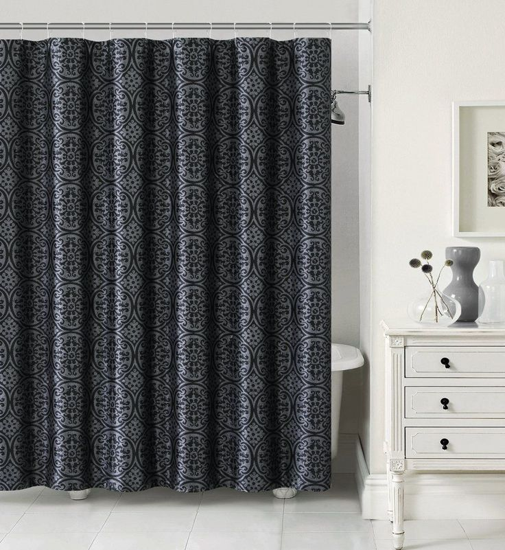 Delta Black and Silver Jacquard Shower Curtain Set with Hooks | eBay