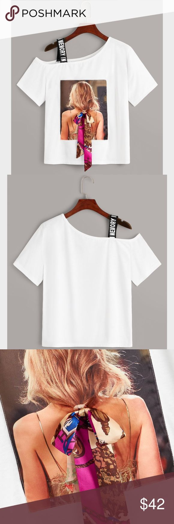 One Shoulder Hair Tie on Printed Tee Shirt Casual Printed One Shoulder Tee Ribbon/Tie Detail White 97% Polyester 3% Cotton Asymmetrical Neck with a St...