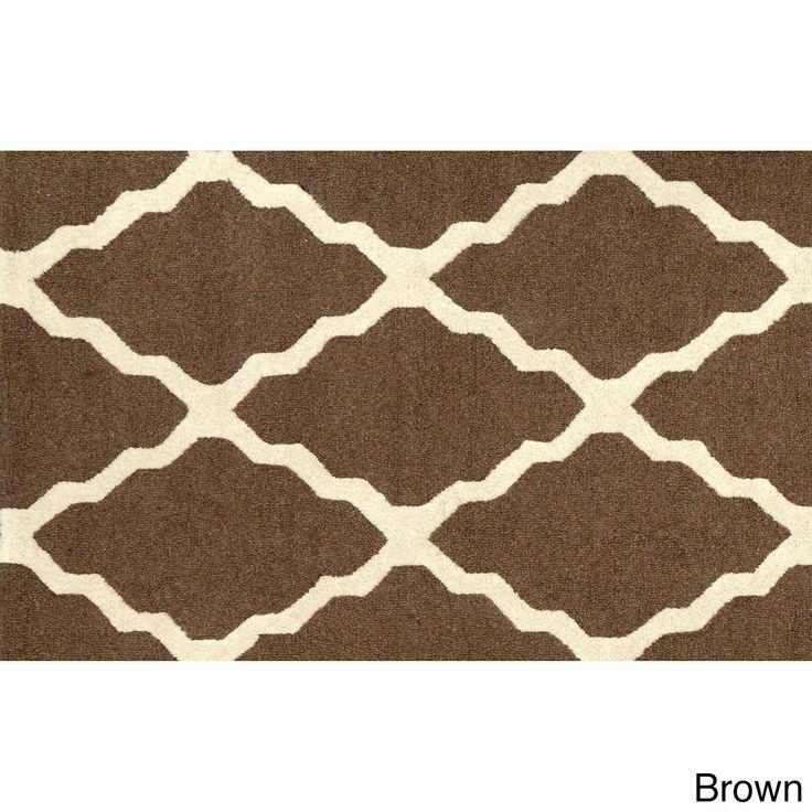 nuLOOM Hand-hooked Alexa Moroccan Trellis Wool Door Mat Rug (2' x 3') (Brown) (Oriental)