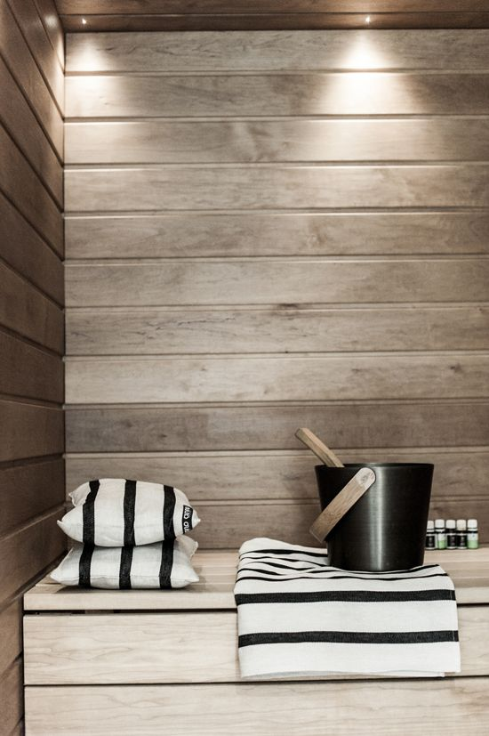 Black, white, wood. #sauna