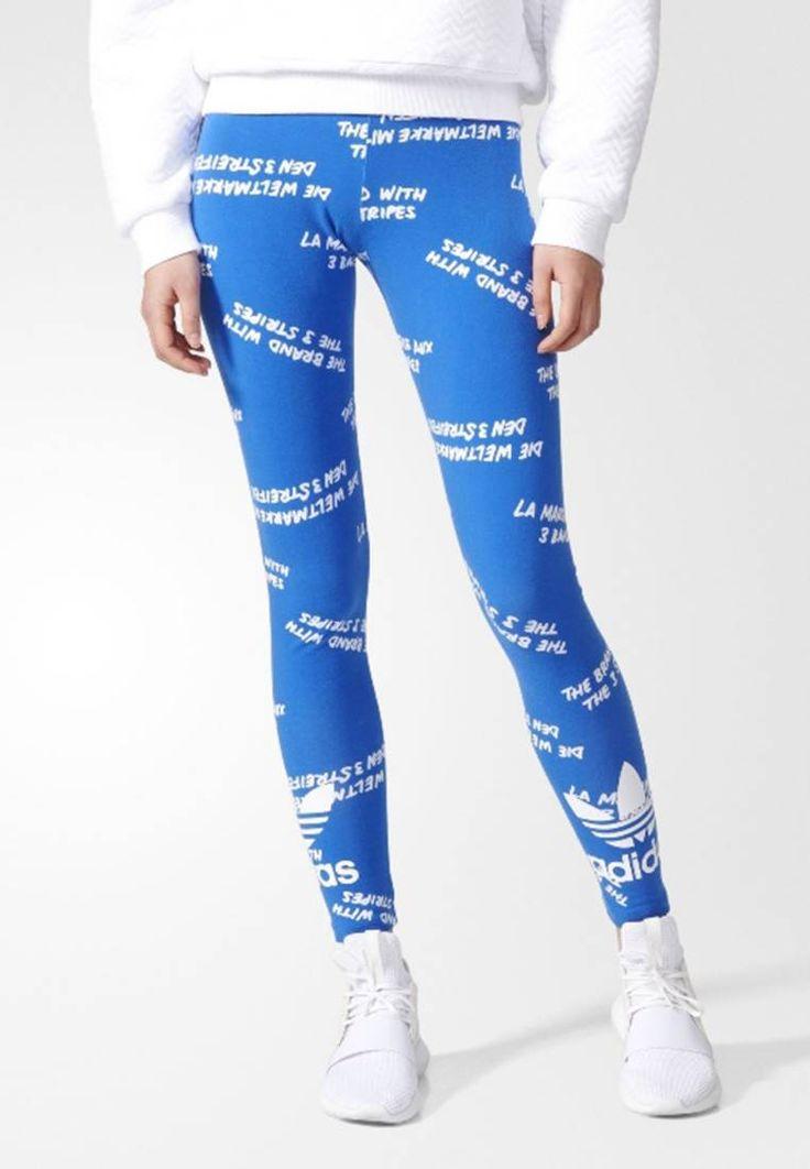 adidas Originals. TREFOIL - Leggings - blue/white. Informations additionnelles:Taille élastique. Composition:93% coton, 7% elasthanne. Taille:normale. Coupe:près du corps. Motif / Couleur:imprimé. Longueur:socquettes