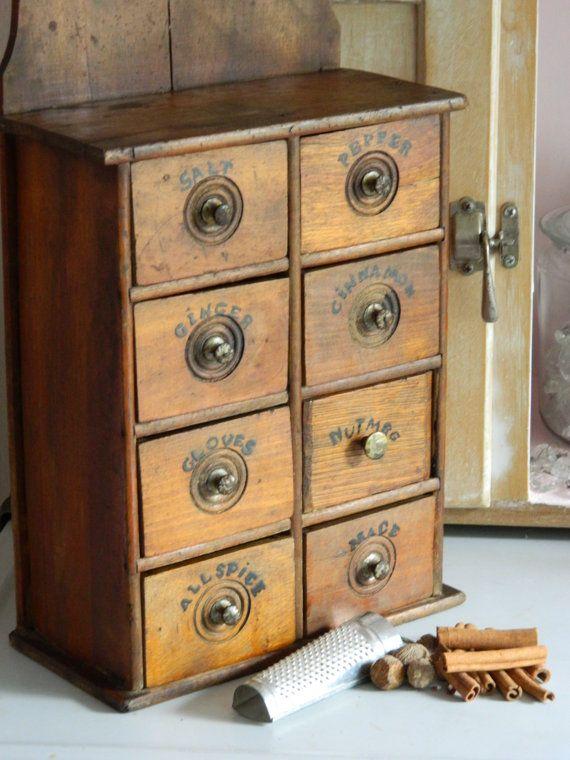 Antique Primitive Spice Chest Cabinet