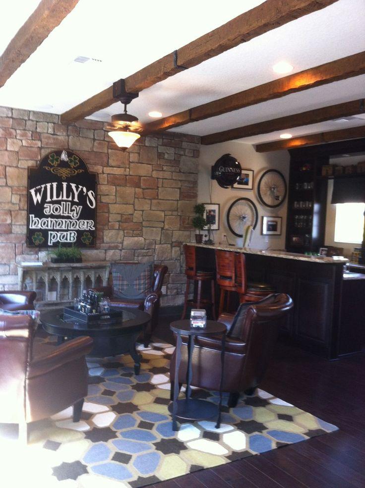 Irish Pub. love the leather chairs stone wall and wooden beams. Basement BarsBasement IdeasPub ... & The 35 best Irish pub Basement ideas images on Pinterest | Basement ...