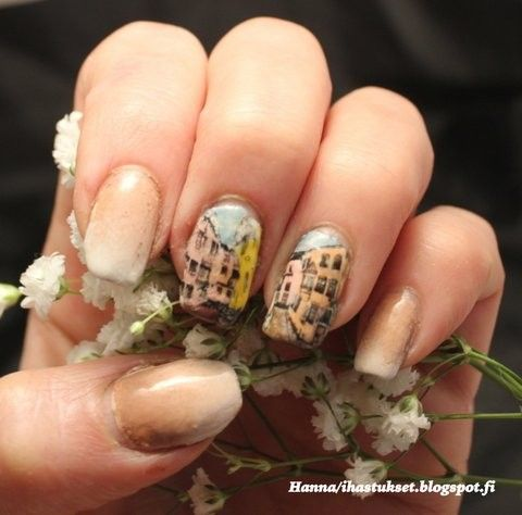 Nailart: Baby boomer nails with stamping decals